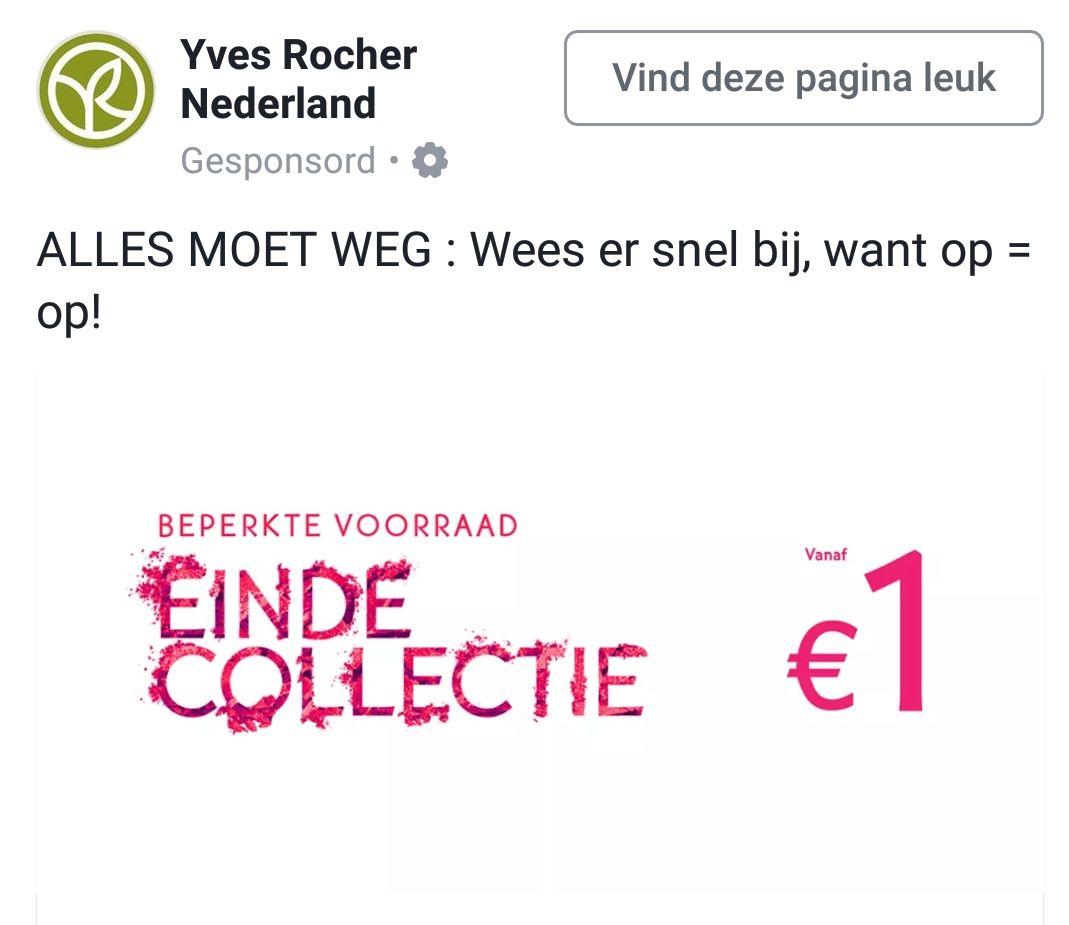 Einde collectie producten vanaf €1 @ Yves Rocher