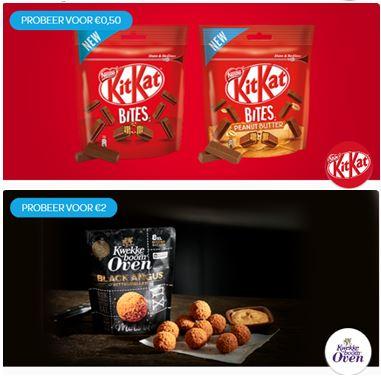 Probeer Kitkat Bites voor € 0,50 en/of Kwekkeboom Oven Black Angus Bitterballen voor € 2,- @ Scoupy