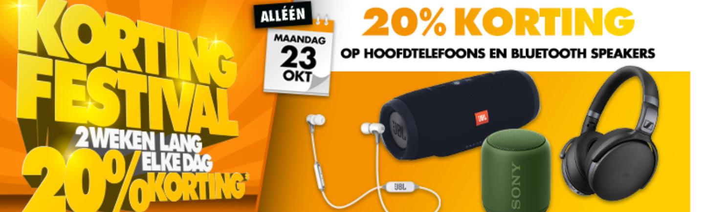 Vandaag 20% korting op hoofdtelefoons en bluetooth speakers @ Expert