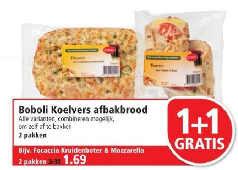 2 pakken Boboli Koelvers afbakbrood (bijv focaccia) voor € 1,69 @  Plus