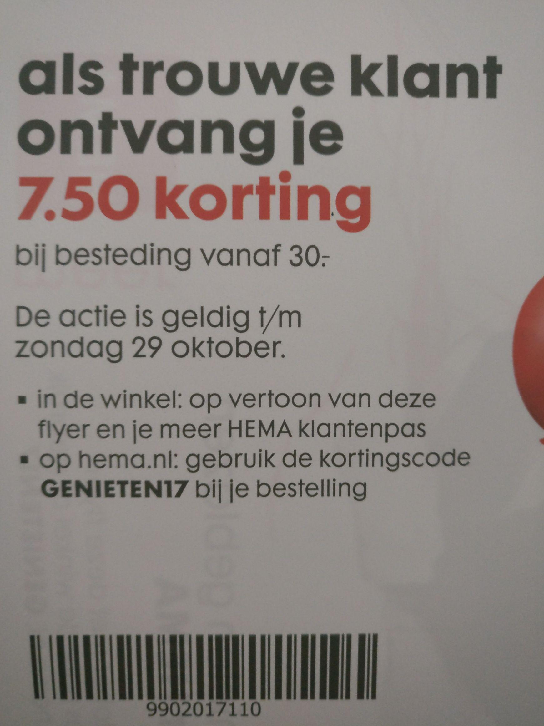 7.50 korting bij Hema.nl