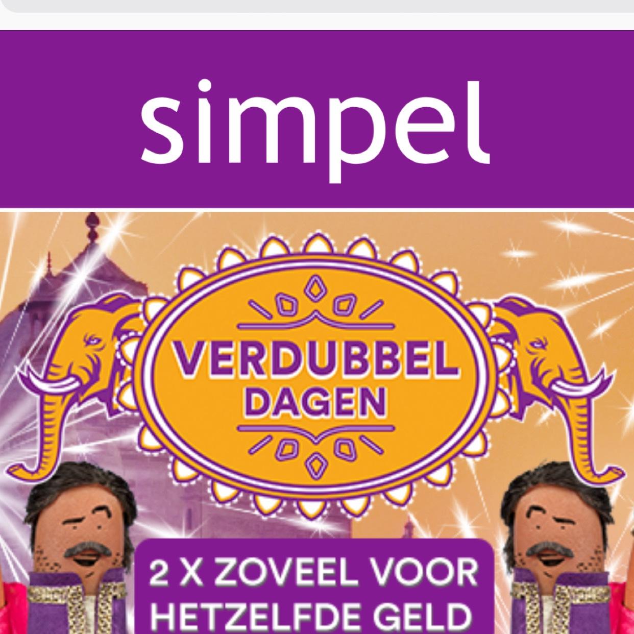 Simpel Verdubbeldagen - Aanbiedingen van 500MB (€2,50) tot 6GB (€12,50) @ Simpel