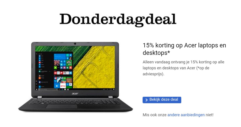 Alleen vandaag: 15% korting op Acer laptops en desktops @ BOL.com