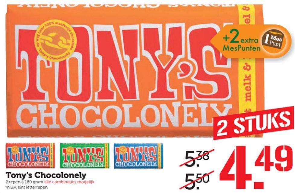 Tony's chocolonely 2 stuks voor €4,49 bij Coop