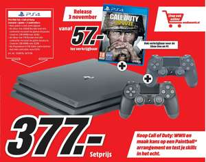 Vanaf 3 nov: PlayStation 4 Pro 1TB + Call of Duty WWII + 2 controllers voor €377 @ Media Markt