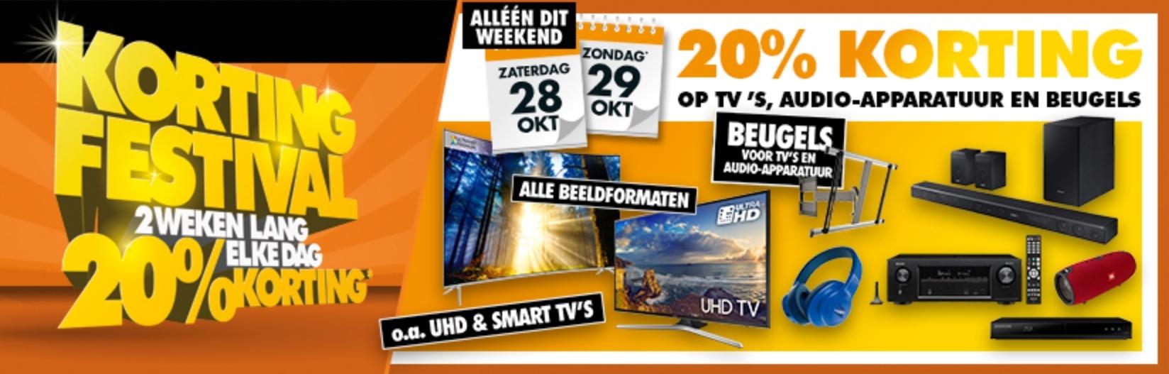 Korting Festival: vandaag en morgen 20% korting op  TV's, audio-apparatuur en beugels @ Expert