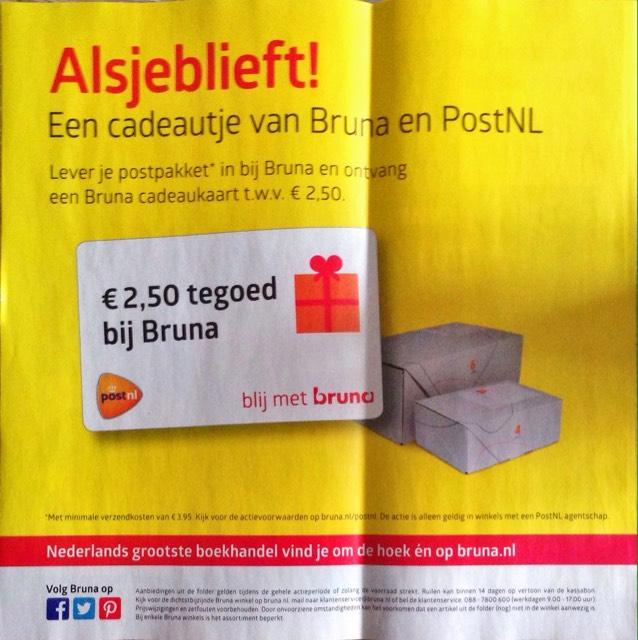 Bruna tegoedbon bij versturen PostNL postpakket