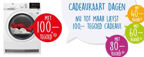 Cadeaukaart Dagen tot €100 bij aanschaf wasmachine of droger @ BCC