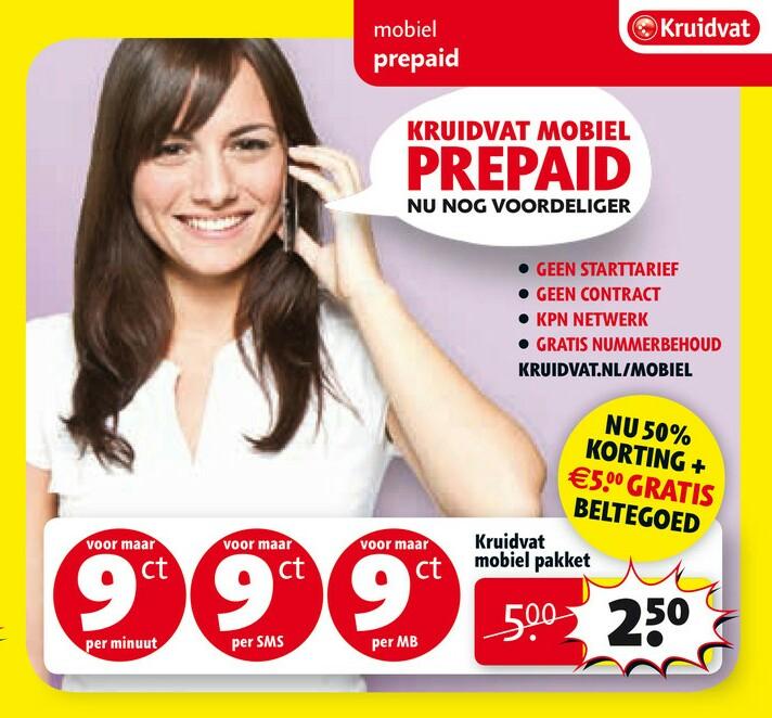 Kruidvat Mobiel Prepaid startpakket 2,50 ipv 5,-