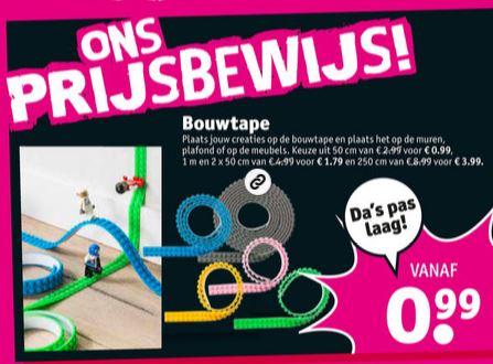Bouwtape voor Lego vanaf €0,99 (tot €3,99) @ Kruidvat