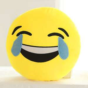 Cartoon Smile Face Emoticon Pattern Pillow Case - Blue And Yellow voor €1,2 @ Rosegal