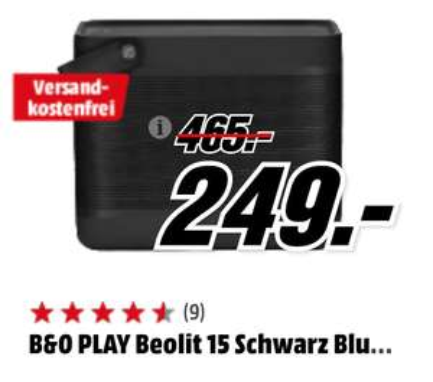 -25% B&O PLAY Beolit 15 @ MediaMarkt DE [Grensdeal]