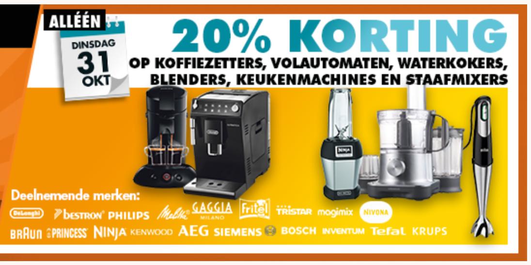 Korting Festival: vandaag 20% korting op koffiezetters, volautomaten, waterkokers, blenders, keukenmachines en staafmixers @ Expert