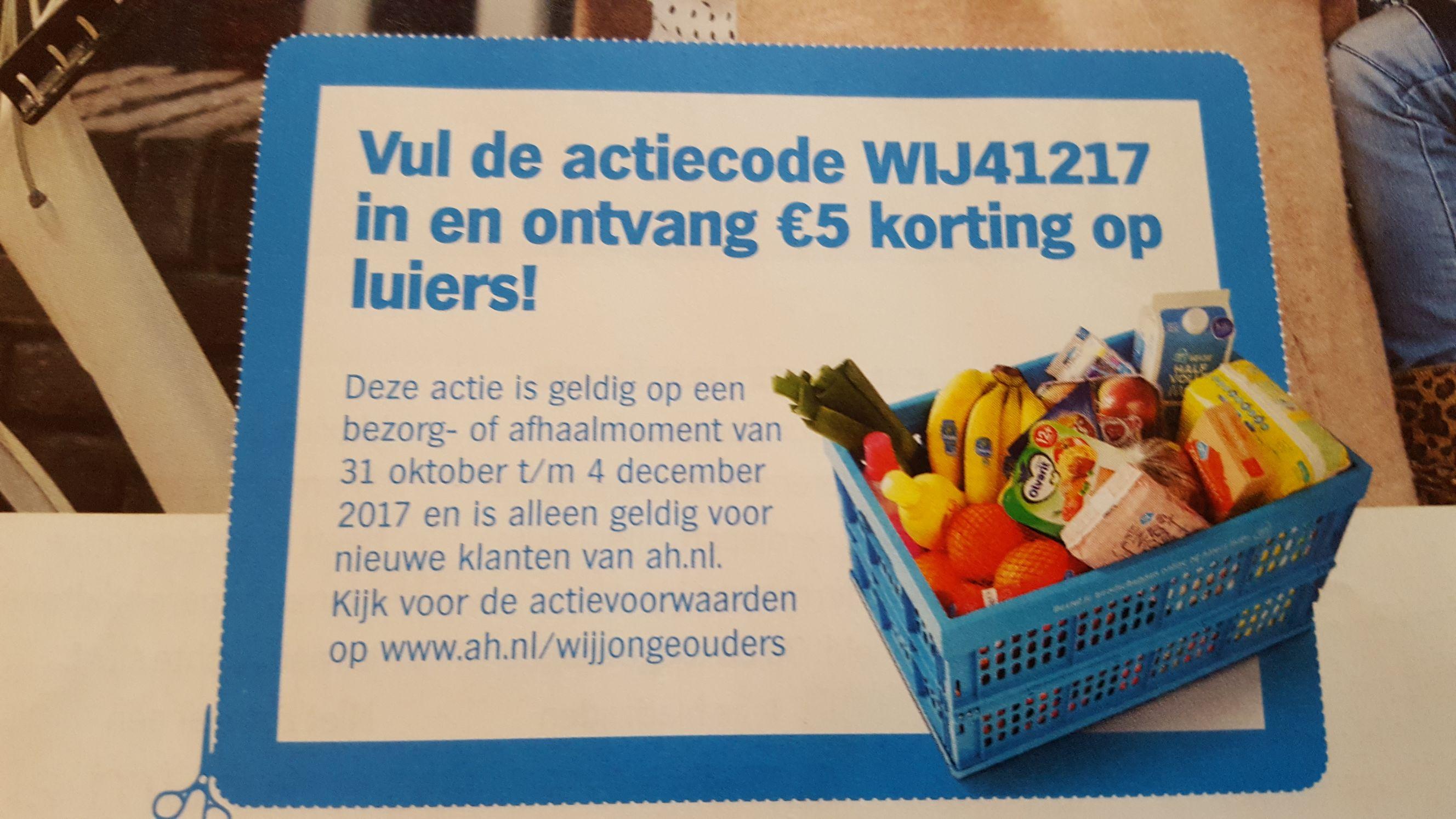 €5,- korting op luiers bij eerste bestelling @ ah.nl