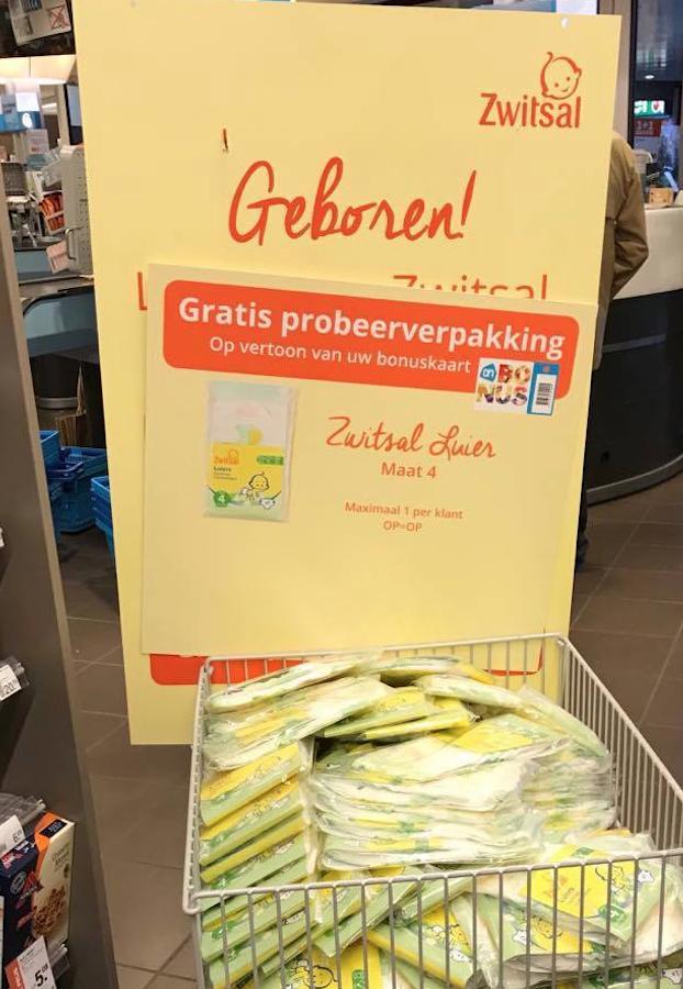Gratis probeerverpakking zwitsal luiers bij Albert Heijn