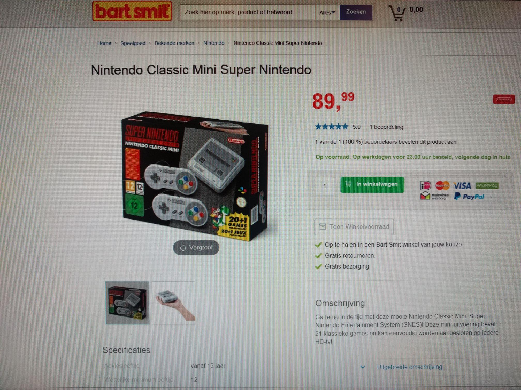 Super Nintendo Mini Bij Bart Smit te koop