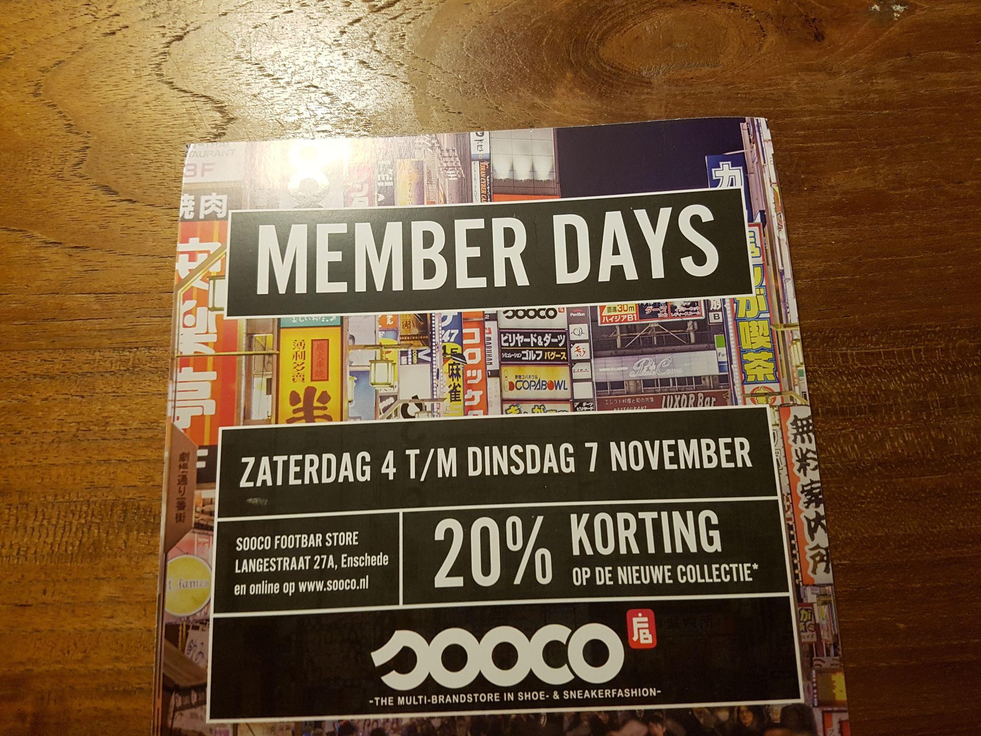 20 procent korting op de nieuwe collectie en tien procent korting op de sale @ Sooco