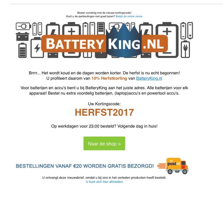 10 % korting bij batteryking