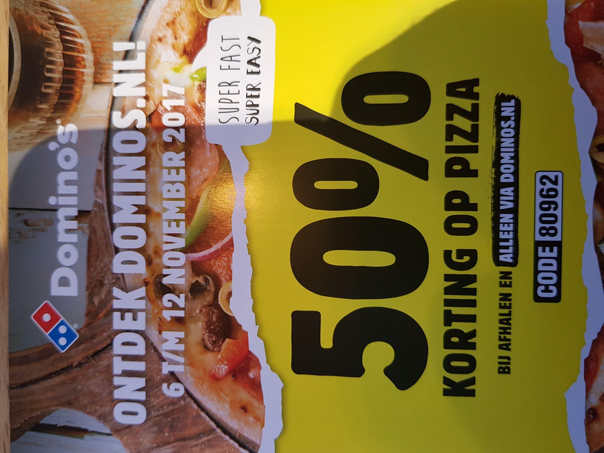 50% korting op pizza dominos