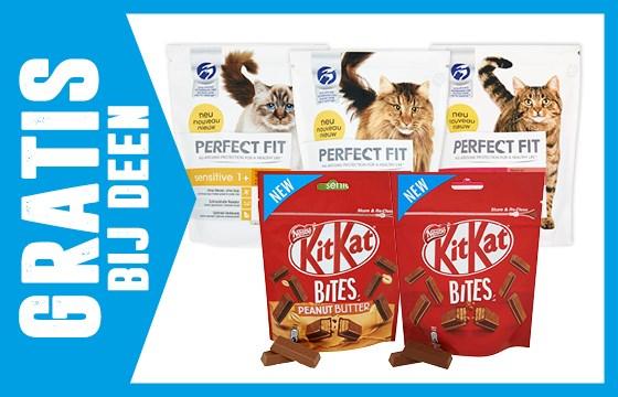Gratis 1 verpakking KitKat bites en/of 1 zak Perfect fit kattenvoeding @ Deen