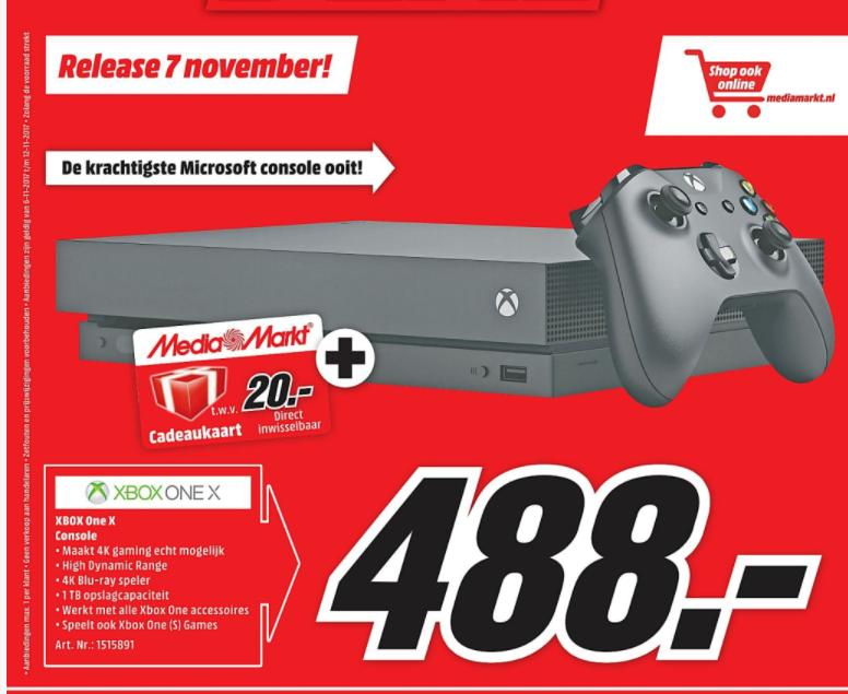 Vanaf 7 nov: Xbox One X 1 TB + 20,- cadeaukaart voor 488,-
