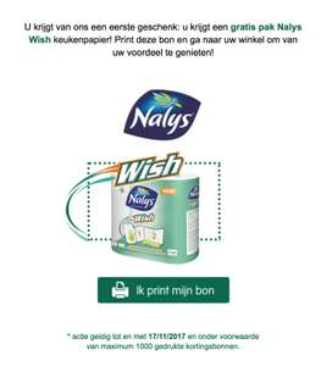 Gratis Nalys wish keukenpapier (België)