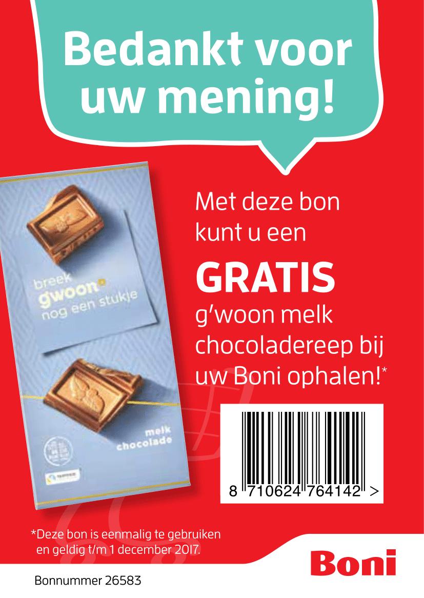 Gratis melkchocoladereep coupon @ Boni