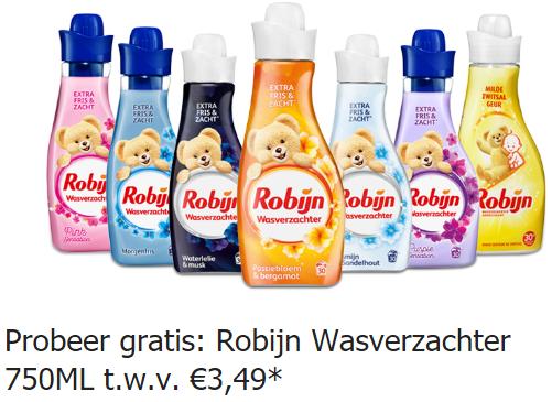 Gratis Robijn Wasverzachter 750ML t.w.v. maximaal €3,49 @ scoupy