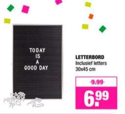 Letterbord €6,99 (woe 17-20 €5,59) @ Big Bazar