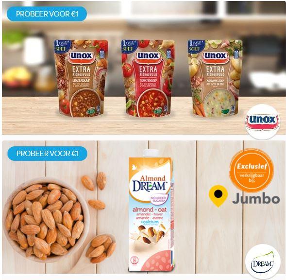 Unox Kleine Soep in Zak: van € 1,99* en/of DREAM® Almond Oat: van € 2,19* voor € 1en  @ Scoupy