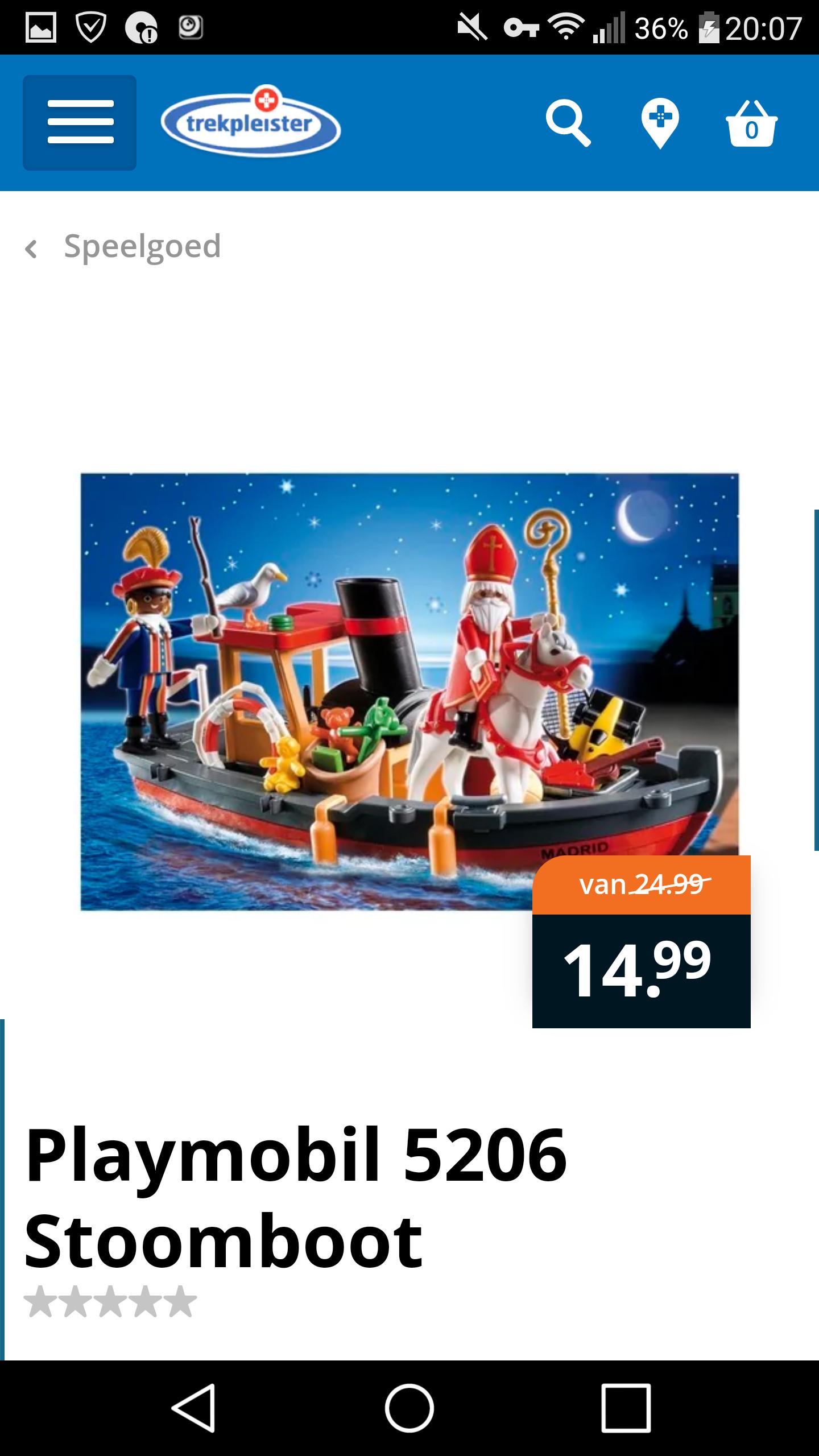 Playmobil stoomboot met Sint en Zwarte Piet