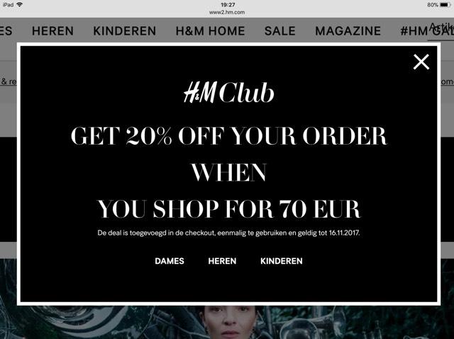 20% korting voor H&M club leden bij besteding van 70EUR