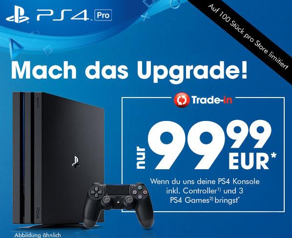 PS4 Pro 1TB voor €99,99 bij inlevering van een PS4 500GB of 1TB met 3 games @ Gamestop Duitsland
