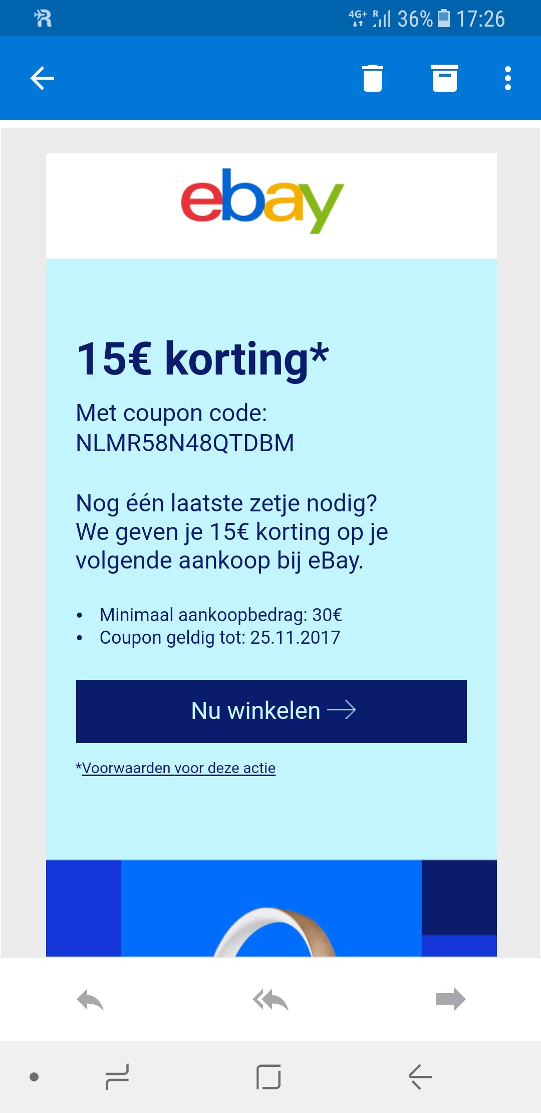 €15,- korting bij minimale besteding van €30,-