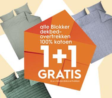 Dekbedovertrekken 1+1 gratis + 10% extra korting met code @ Blokker
