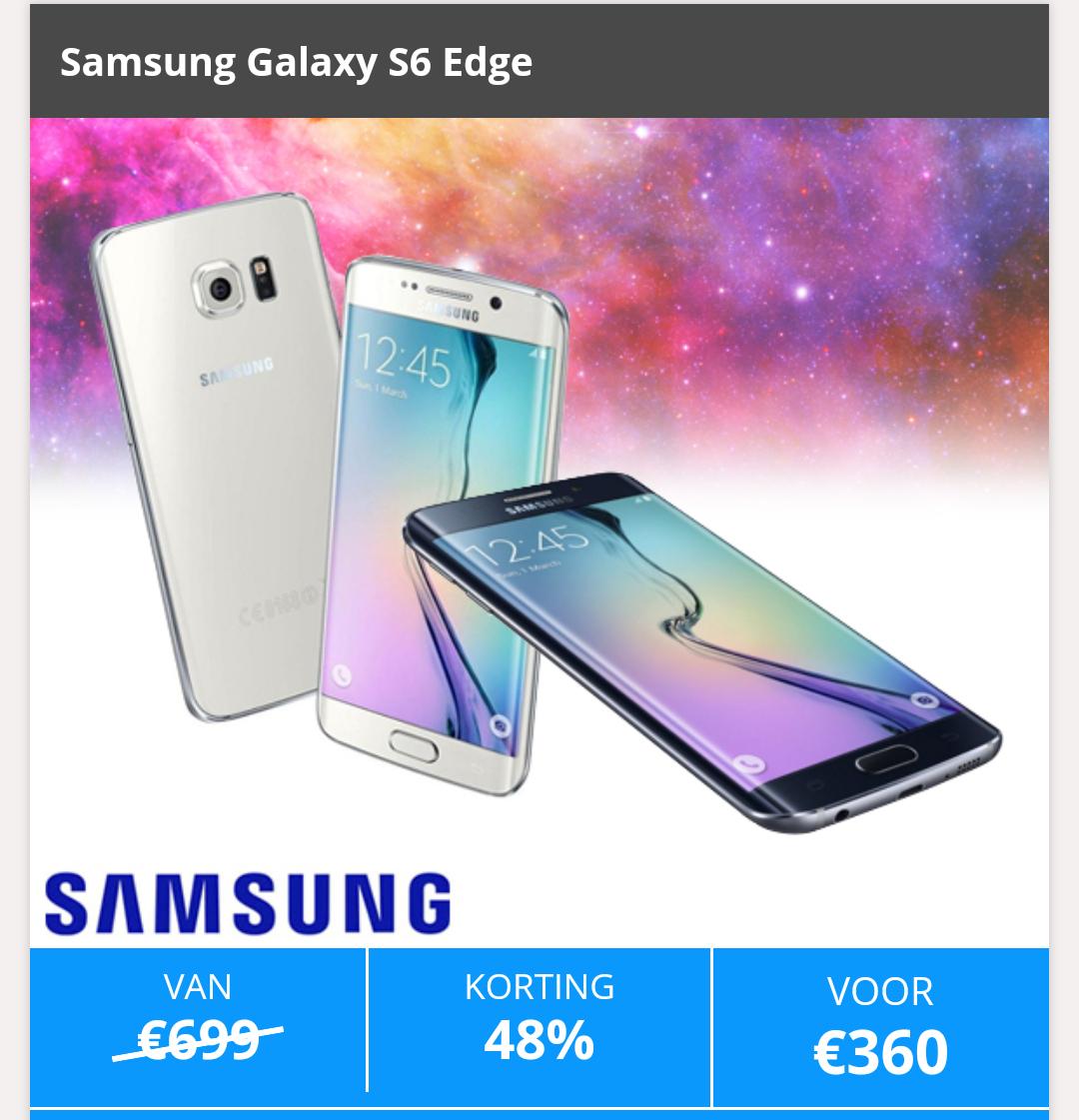 Samsung galaxy s6 edge, € 360,- , elders vanaf € 399,- @ speurders deals