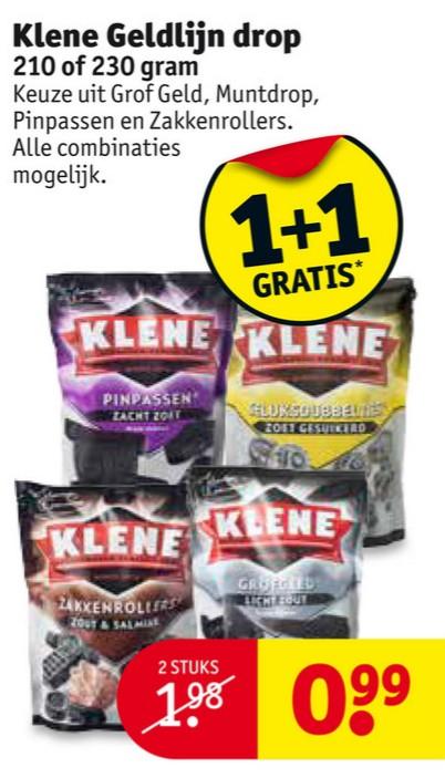 2 zakken Klene drop voor €0,99 @ Kruidvat