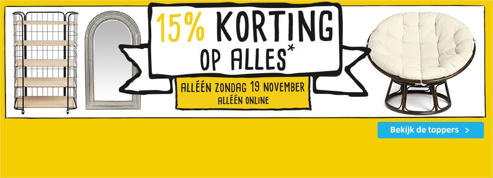 Xenos 15% korting op het hele online assortiment (zondag 19 november)