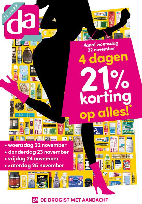Vanaf woensdag 22 november: 21% korting op alles @ DA