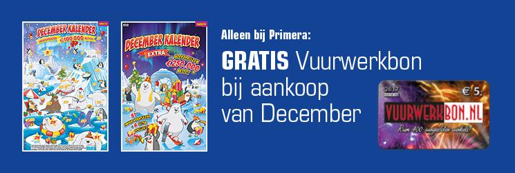 Primera GRATIS Vuurwerkbon(nen) bij aankoop van December Kalender
