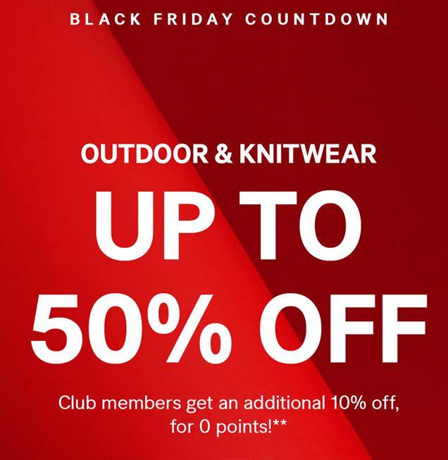 Pré Black Friday deal: tot 50% korting op outdoor & knitwear + members 10% extra korting + gratis verzending @ H&M