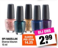 Diverse kleuren O.P.I. nagellak €2,99 p.s. @ Big Bazar