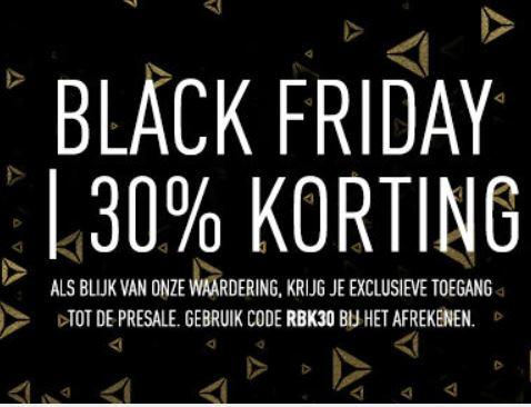 (Pre) Black Friday deals: 30% korting op presale artikelen + 30% extra op outlet + gratis verzending @ Reebok