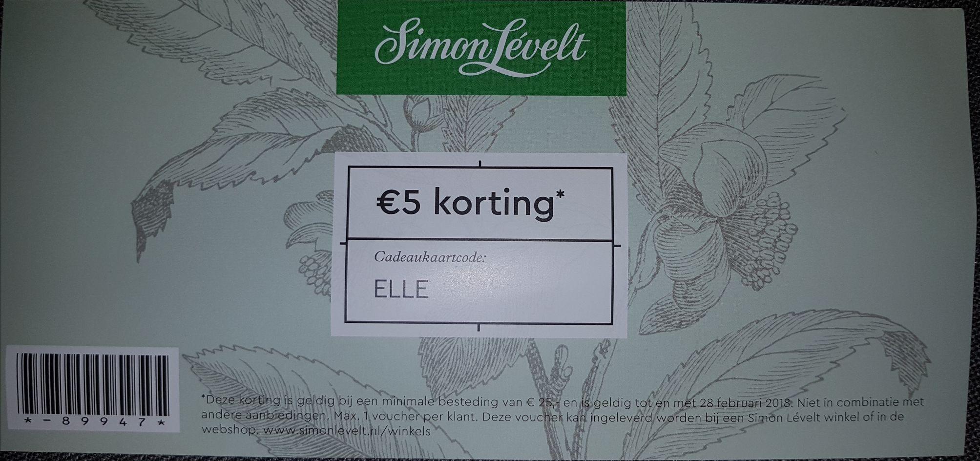 €5,-- korting bij Simon Lévelt
