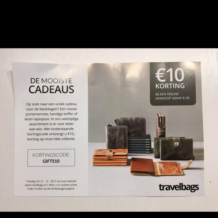 €10 korting bij een aankoop vanaf €49 @ Travelbags