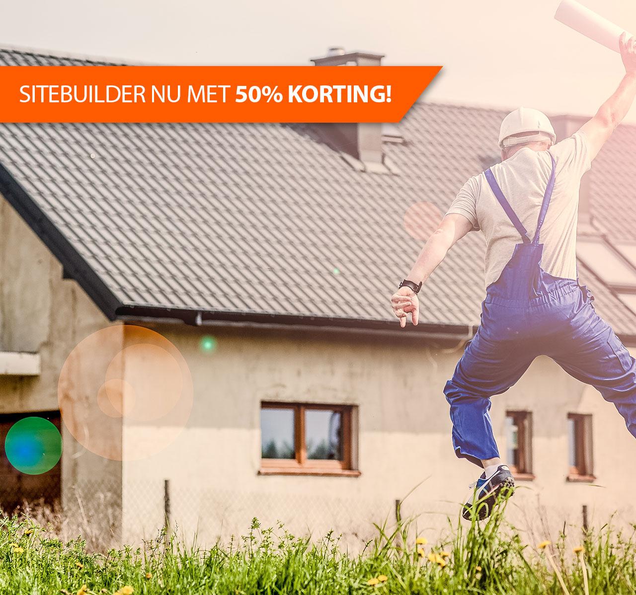 50% korting op de aanschaf van de Sitebuilder