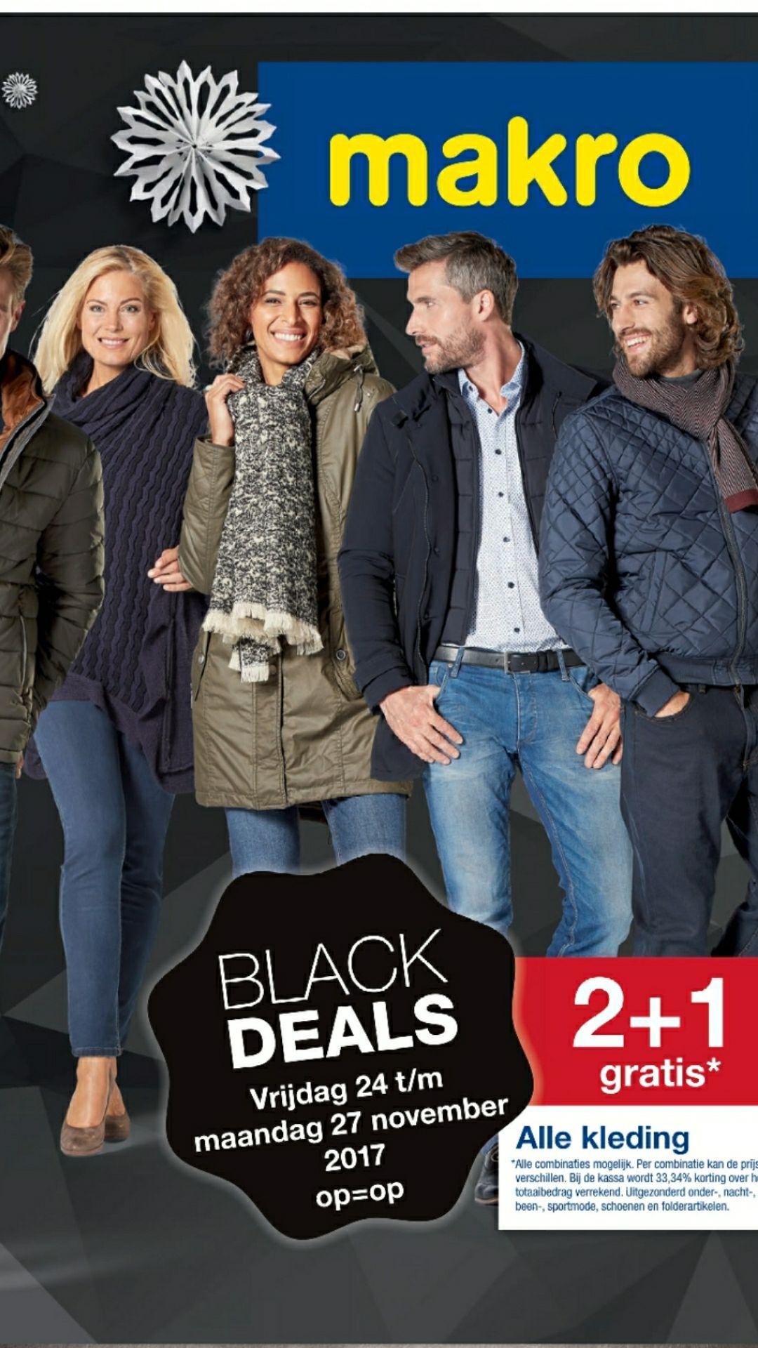 Makro Black Deals 2+1 gratis op alle kleding!