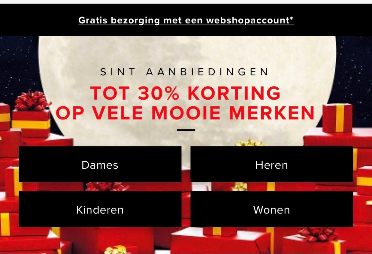 Sintaanbiedingen Bijenkorf: 30% korting op geselecteerde merken