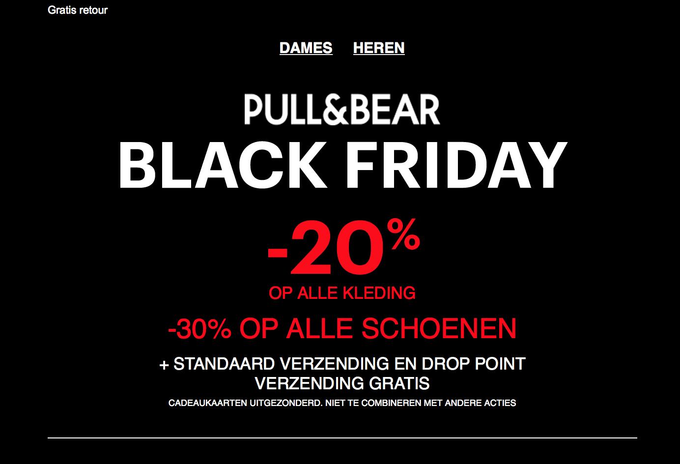 Black Friday @Pull&Bear 20% op kleding en 30% op schoenen