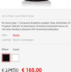 Apollo Black Friday: Sonos Play1 voor 165 euro.